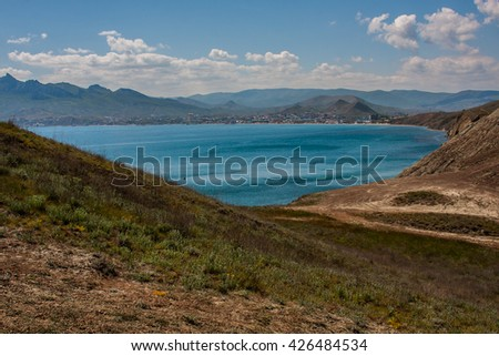 summer afternoon in the Crimea on the shore of the Bay of Koktebel