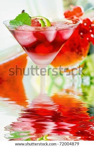 Summer alcoholic recreational drink with mint and lemon - stock photo