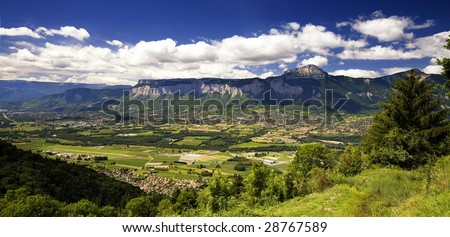 SUMMER ALPINE MOUNTAIN PANORAMA - stock photo