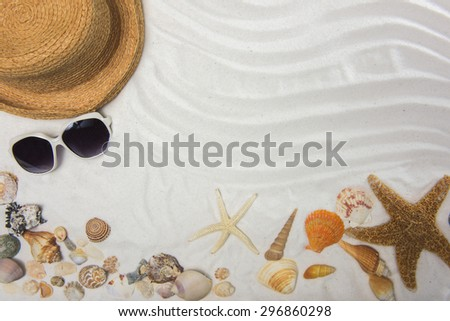 Summer and Beach Concept. Sandy Beach with Starfish And Various Sea Shell - stock photo