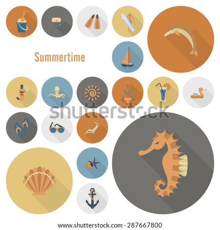 Summer and Beach Simple Flat Icons, Travel and Vacation.