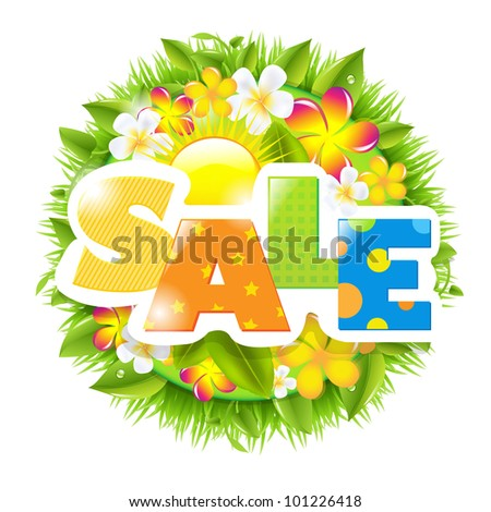 Summer And Spring Sale Template, Isolated On White Background - stock photo