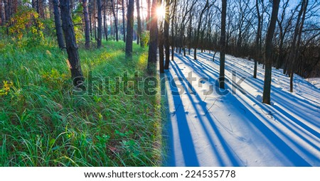 summer and winter meeting - stock photo