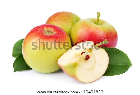 summer apple fruits with cut and green leaves isolated on white background - stock photo