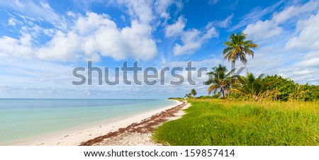 Summer at a tropical paradise in Florida Keys, USA with palm trees, blue sky, clouds and crystal clear water of Atlantic Ocean - stock photo