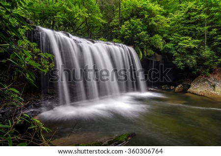 Summer at Quadrule Falls in the Appalachians of Southeastern Kentucky - stock photo