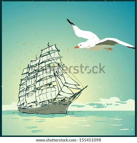 Summer background, poster in retro style with the sea, sailing boat and seagulls.Raster version. The original is also available in my gallery