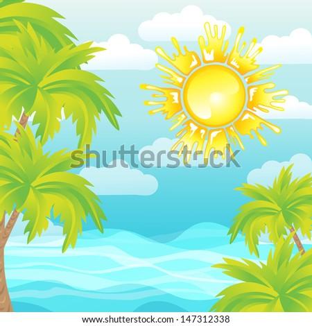 Summer background sea sun palms raster image - stock photo