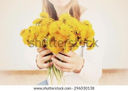 Summer background, Summer girl or Romantic background, Vintage background, Retro background, Cover design, Postcard background, Dandelion background, Yellow background - stock photo