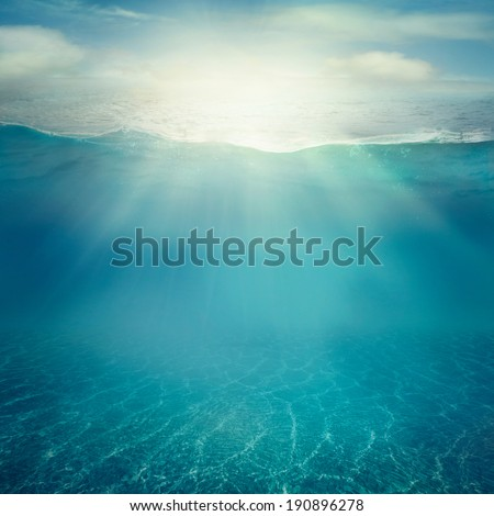Summer background. Underwater sea view. Ocean water surface.  - stock photo