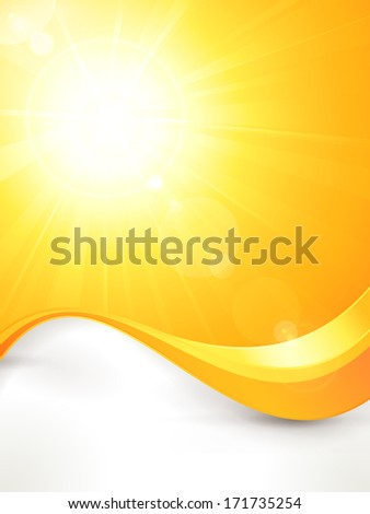 Summer background with a magnificent sun burst with lens flare and wavy lines pattern in bright orange and yellow colors. - stock photo