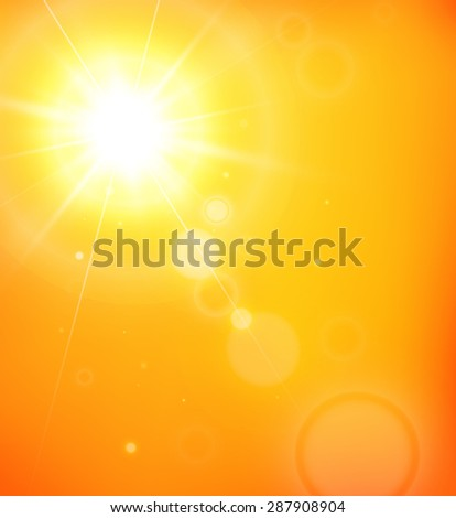 Summer background with a magnificent sun burst with lens flare. JPG version. - stock photo