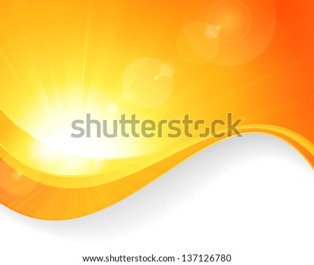 Summer background with a magnificent vector sun burst with lens flare and wavy lines pattern in bright orange and yellow colors. Vector available. - stock photo