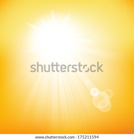 Summer background with a summer sun burst with lens flare.