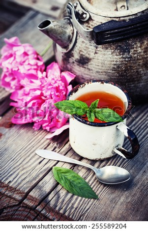 Summer background with herbal tea - stock photo