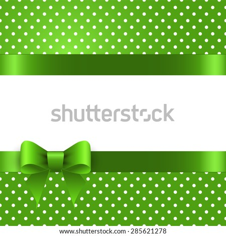 Summer background with polka dots, with a green bow - stock photo