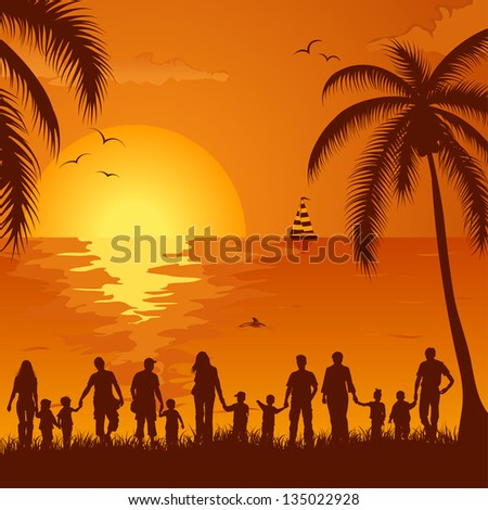 Summer background with silhouette family, palm tree, dolphin and yacht, element for design, illustration