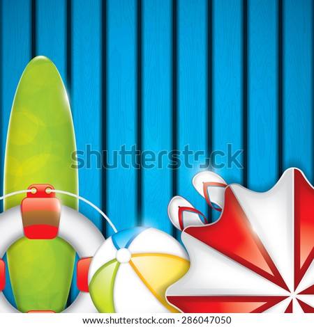Summer background with surfboard, parasol and beach ball - stock photo