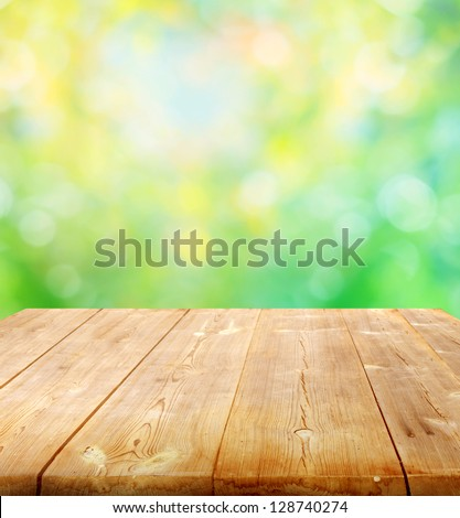 summer background with wooden planks - stock photo