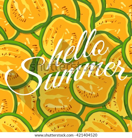 Summer background with yellow watermelons