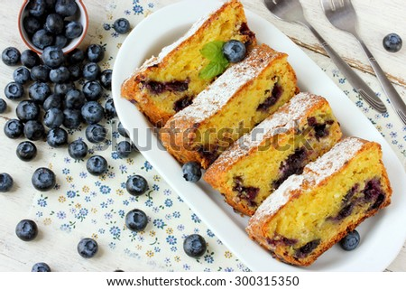 Summer baking cheese cake with fresh blueberries top view - stock photo
