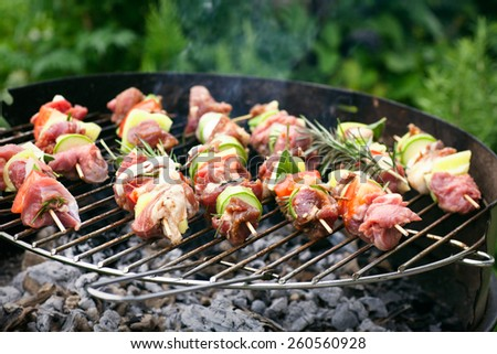 Summer barbecue. Meat BBQ with herbs and vegetables. Outdoor grill food - stock photo