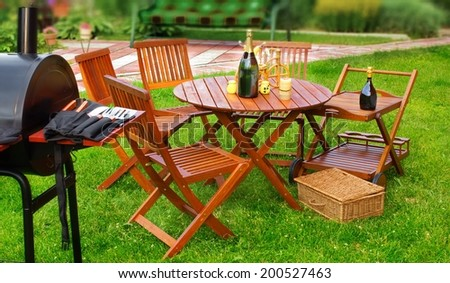 Summer BBQ Party Or Picnic In Backyard On Lawn Tilt Shift Effect Background