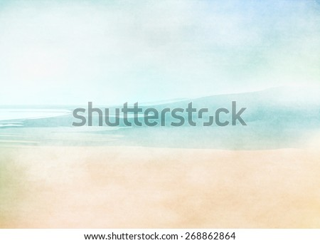 Summer beach. Abstract water color background - stock photo