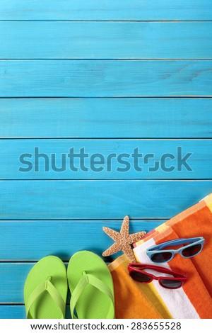 Summer beach background border, flip flops, copy space - stock photo
