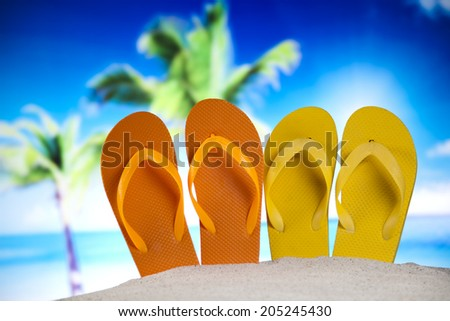 Summer Beach Background, Flip flops - stock photo
