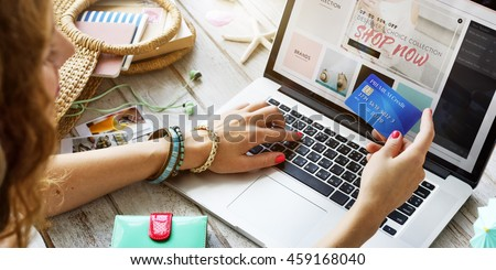 Summer Beach Holiday Online Shopping Concept - stock photo