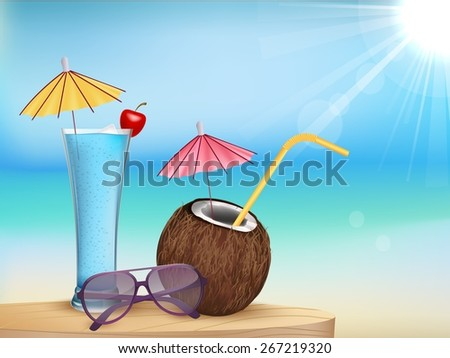 summer beach juice, glasses with young coconut - stock photo