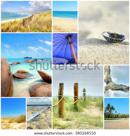 summer beach mosaic ; A collection of quality images from beaches together in one collage    - stock photo