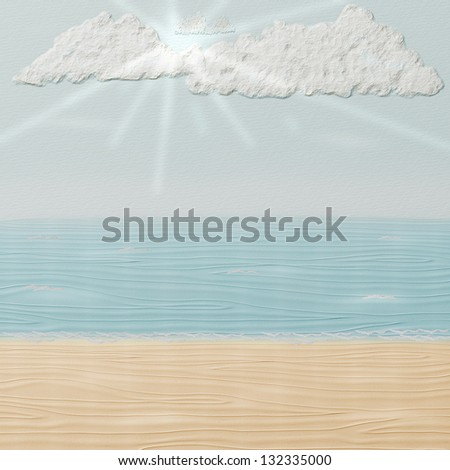 Summer beach, paper texture, 3d - stock photo