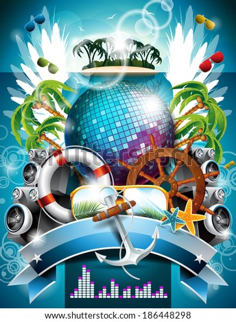 Summer Beach Party Flyer Design with disco ball and wings on green background. JPG version - stock photo