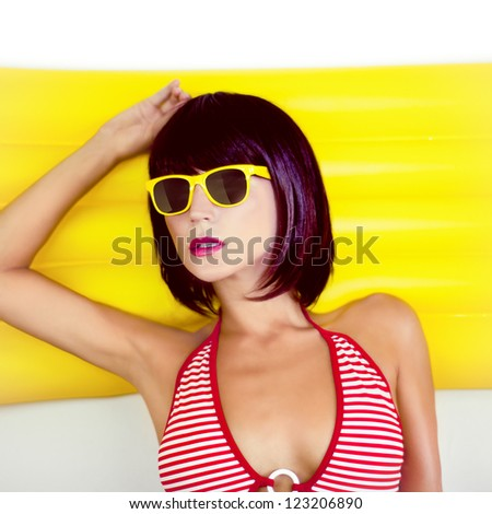summer beach portrait of a sensual girl - stock photo