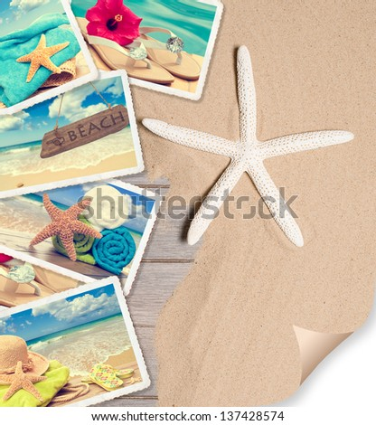 Summer beach postcards on sand with starfish and page curl - stock photo