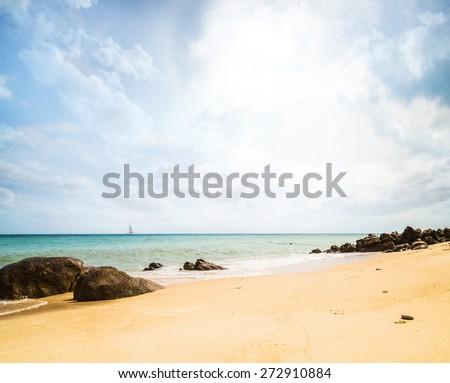 Summer beach (sky, sea and rocks). Nature background. - stock photo