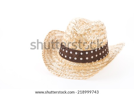 Summer beach straw hat isolated on white background