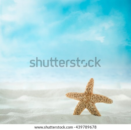 Summer beach. Summer background with with sand and shells. Sea backgroundwith sandy beach - stock photo