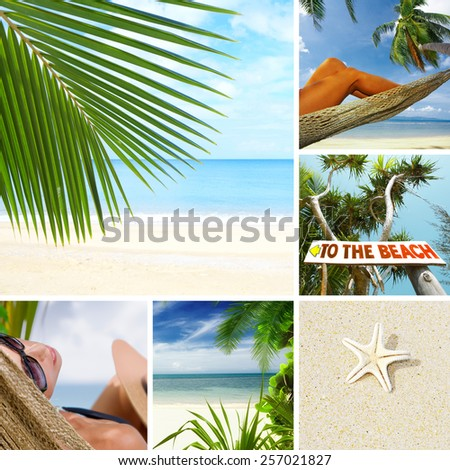 summer beach theme collage composed of a few images