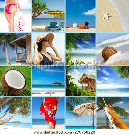 summer beach theme collage composed of a few images - stock photo