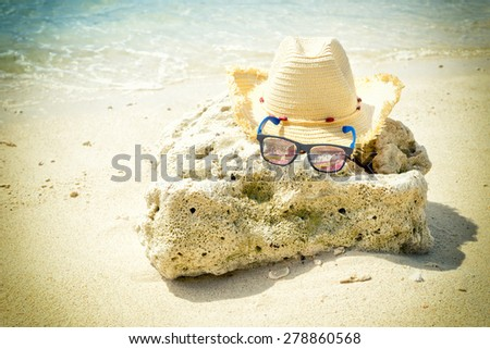 Summer beach with accessories.vintage style - stock photo
