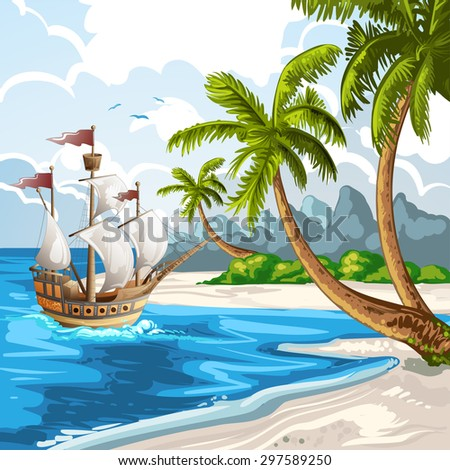 Summer beach with going ship - stock photo