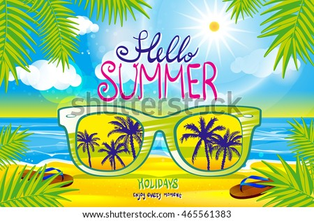 summer beach, with sunglasses, background illustration art