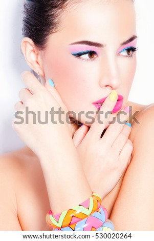 summer beauty portrait with colorful fashion accessories