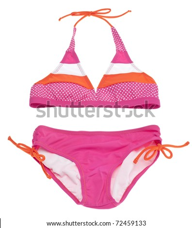 Summer Bikini Concept with Pink and Orange Bikini Isolated on White with a Clipping Path. - stock photo