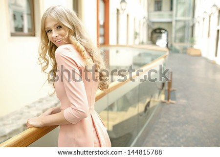 Summer blonde girl - stock photo