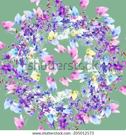 Summer Blue Flowers and  Butterflies Frame. Watercolor hand painting Background.