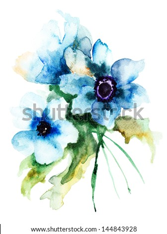 Summer blue flowers, watercolor illustration - stock photo